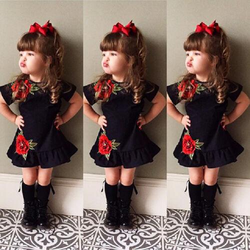 Sweet Toddler Kids Baby Girls Flower Summer Party Dress Sundress Clothes Pre US
