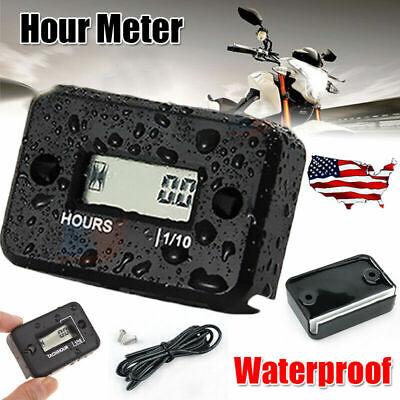 Waterproof Digital LCD Hour Meter Gauge for Motorcycle Generator Boat Gas Engine