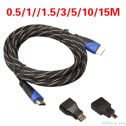 3IN1 HDMI TO HDMI / MINI HDMI / MICRO HDMI ADATTATORE CAVO KIT Per TABLET PS3 TV