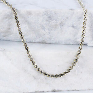 Sterling Silver ITALY 2mm Twisted Herringbone Gold Plate Necklac