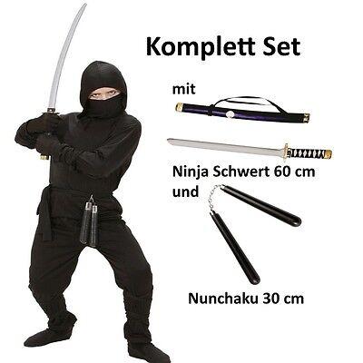 BLACK DRAGON NINJA Kinder Kostüm Gr. 158 Komplett Set mit Schwert und Nunchaku ()