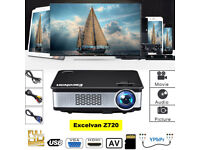 BRAND NEW,,Z720,EXCELVAN,Native Resolution: 1280,768,,3300 Lumens HD 1080P LED Projector