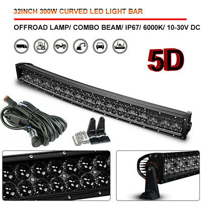 5D 32inch 300W Curved LED Work Light Bar Spot Flood Combo Truck Offroad ATV 4WD