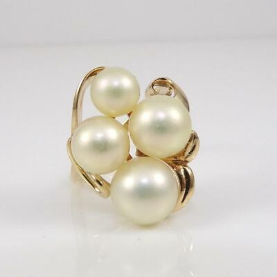 Mikimoto 14K Yellow Gold Ring White Pearl Cluster Modernist Size 6.5 FZ