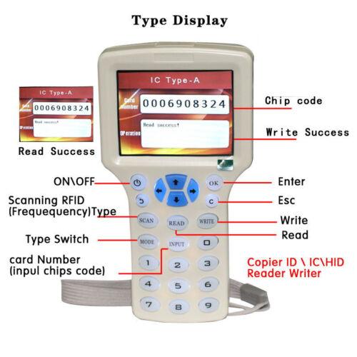 10 Frequenz RFID copier verschlüsselt NFC intelligente ID IC Card Reader Writer