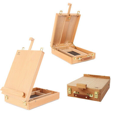 (Portable Beech Art Drawing Painting Supply Desktop Table Easel Wooden Sketch Box)