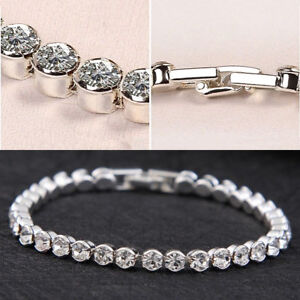 Silver Plated Tennis Bracelet Made With Swarovski Crystal Bling Party Bridal Uk
