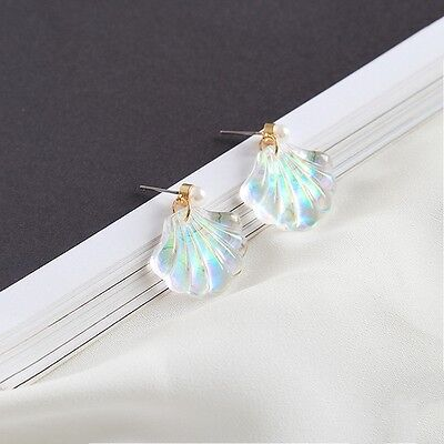 Fashion New Sea Pearl Shell Women Girl Resin Rainbow Ear Stud Earrings Jewelry