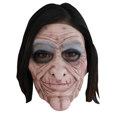 Old Lady 2 PC Moving Mouth Ghoulish Adult Latex Halloween Mask - Halloween Mask Old Lady