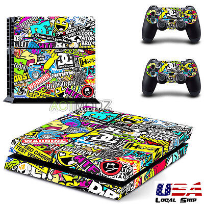 Colorful Game Decal Cover Skin Sticker For PS4 PlayStation Console 2 Controller