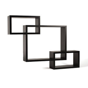 Melannco Interlocking Shelves (Espresso, Set of 3)