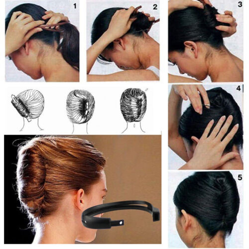 1pc Women Hair Styling Updo Donut Bun Clip Tool French Twist Maker Holder Charm