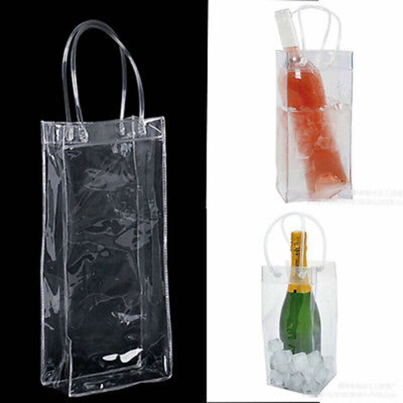 Details About Chill Bag Clear Ice Tote Wine Bottle Cooler Champagne Chiller Gel Carrier