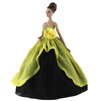 Barbie Dolls Clothes High Yellow Rose Wedding Dress Gown X-mas Gift Girls Toy