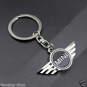 Car logo Key Chain Metal, Single Side,Black,Keychain Key Ring For Mini Cooper