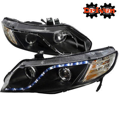 4Door Sedan For Honda Civic 06-11 Projector R8 LED DRL Black Housing Headlight Civic Projector Headlights Black Housing