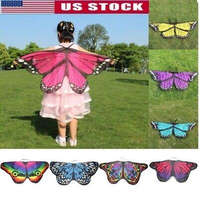 Kid Girl Fairy Butterfly Wings Costume Princess Shawl Cape Holloween Cloak - Children Holloween Costumes