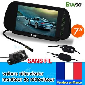 Vue-Arriere-De-Voiture-Kit-7-034-TFT-LCD-ecran-Ir-De-Recul-Camera-Sans-Fil-FR-Stock
