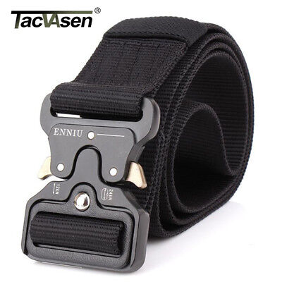 TACVASEN Black Tactical Heavy Duty Mens Military Belt Utility Nylon Army Belts