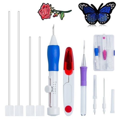 Magic Embroidery Pen Punch Needle Set Stitching Tool DIY Craft Threaders Funny