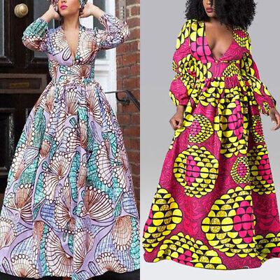 afrikanische Damen Freizeit hohe Taille Maxi Kleid V-Ausschnitt