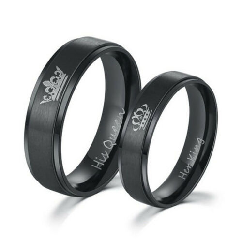 His Queen And Her King Titanium Steel Rings Lovers Couple Ri