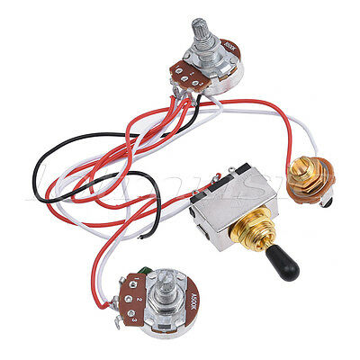 prewired wiring harness kit 3 way toggle switch 500k for electric guitar parts ebay. Black Bedroom Furniture Sets. Home Design Ideas