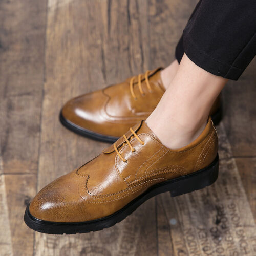 Details about  /Mens Business Leisure Leather Shoes Pointy Toe Formal Wedding Party Oxfords New