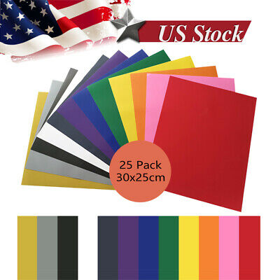 25 Sheets 12x10in Htv Heat Transfer Vinyl Pvc Iron On Diy T-shirt Easy To Weed