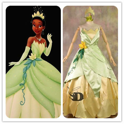 Tiana Adult Costume The Princess and The Frog Cosplay Dress Party Ball Gown - Princess And The Frog Costume Adults