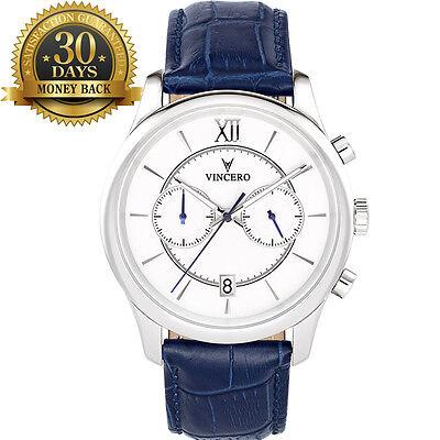 Original Men's Wrist Watch Chronograph Silver&White Leather Strap Analog Quartz