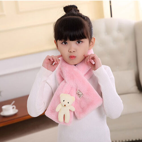Girls Scarf Winter Warmer Solid Color Wrap Faux Rabbit Fur Comfortable Scarves