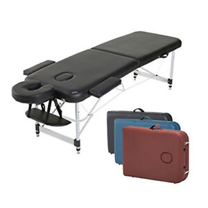 New 2 Section Aluminum  Portable Massage Table black/blue/red