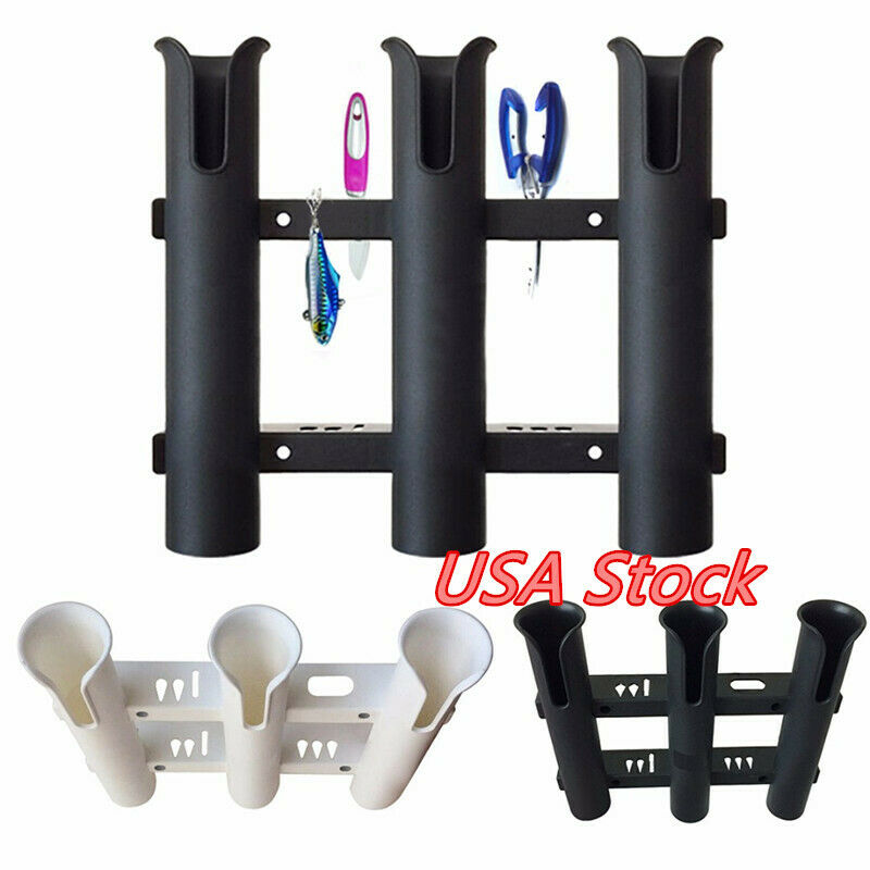 Portable Boat Marine Fishing Rod Holder Triple Plastic Hold Tube 3 Pole Bracket