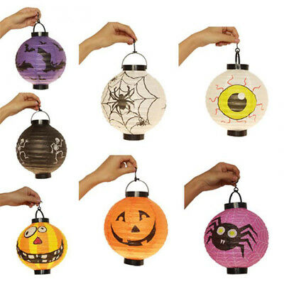 Halloween LED Paper Pumpkin Hanging Lantern DIY - Holiday Party Decoration Scary