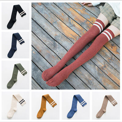 Women Cotton Over Knee Thigh-High Thick Boot Stripe Socks Warm Winter New Womens Boot Socken