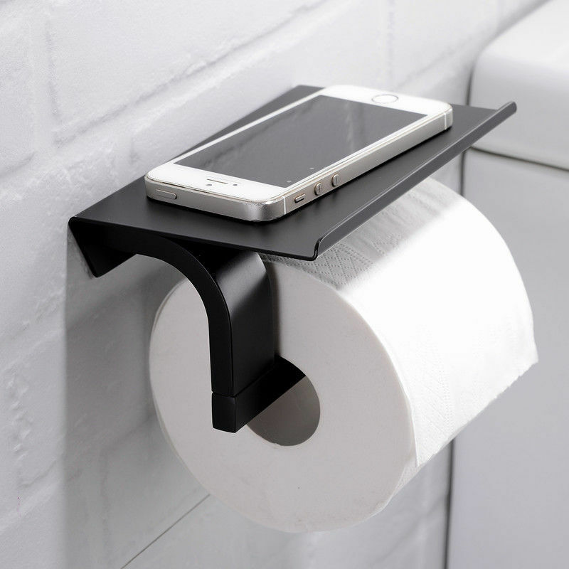 Modern Sus304 Matte Black Toilet Paper Holder Wall Mount Tissue Roll Hanger Ebay