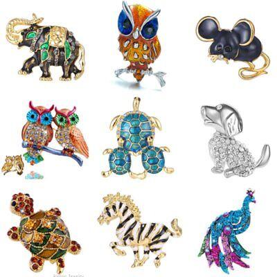 Cute Animal Crystal Owl Horse Dog Elephant Brooch Pin Women Jewelry Xmas Gift (Owl Pin)