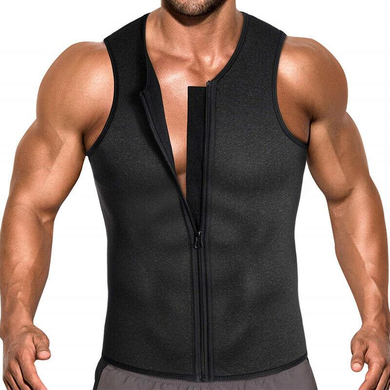 men s sweat waist trainer zip vest