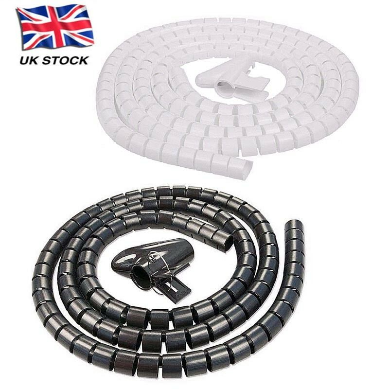 2 Metre Cable Tidy PC TV Wire Organising Wrap Spiral Office Home.s