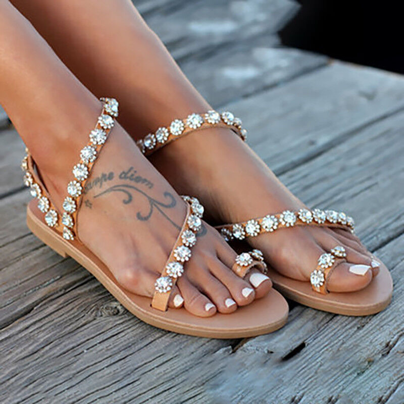 9419e944c Women Bohemian Flat Sandals Toe Ring Rhinestone Tassel Summer Beach Casual  Shoes