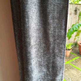 Grey Velourish Eyelet curtains from Dunelm