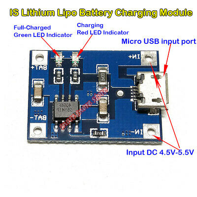 Micro Usb Lipo Charger Board 5v 1a Lithium Battery Charging Module For Arduino