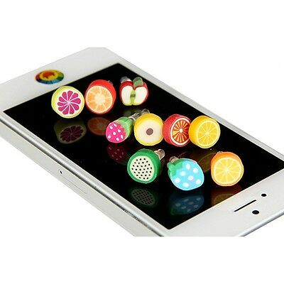10Pcs 3.5mm Fruit Anti Dust Earphone Plug Cover Stopper Cap for Cellphone