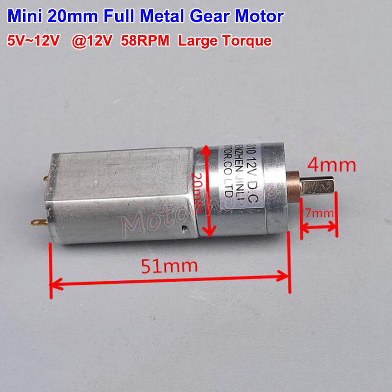 DC 6V~12V 64RPM Slow Speed Large Torque Micro 25mm Metal Gearbox 370 Gear Motor
