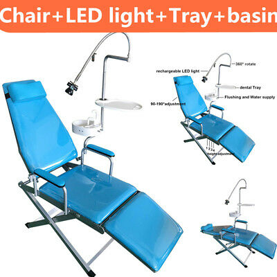 Dental Portable Folding Chair Unit Water Supply Flushing System Cuspidor Tray Us