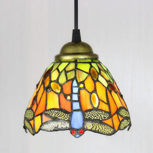 Tiffany Style Ceiling Lamp Hanging Light Fixture Stained Glass Dragonfly Shade