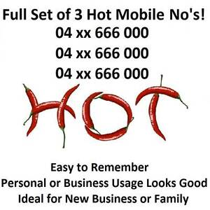 THREE GOLD MOBILE NUMBERS - MATCHED SET OF 3 RED HOT NUMBERS Winmalee Blue Mountains Preview