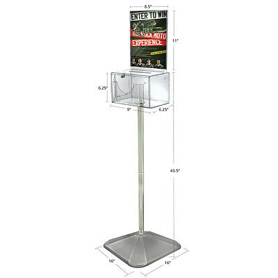 New Clear Large Suggestion Box With Pocket Lock Keys 9wx6.25dx6.25h