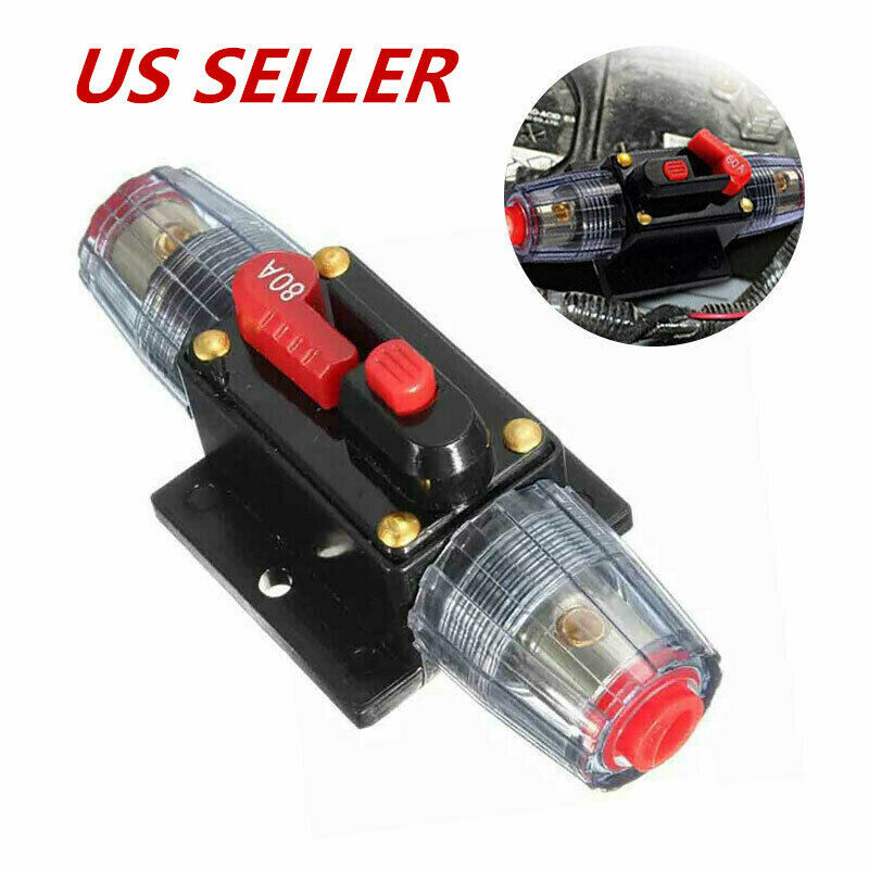 Auto Car Audio Solar Energy Inline Circuit Breaker Fuse Holder 20A-100A AMP
